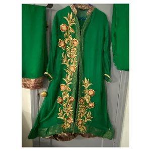 Chiffon Emerald green maxi gown (4 pieces)